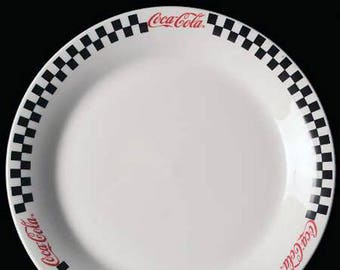 Vintage (1996) Gibsons Coca-Cola Race Day large dinner plate | charger. Red Coca-Cola logo, black-and-white checkered border.
