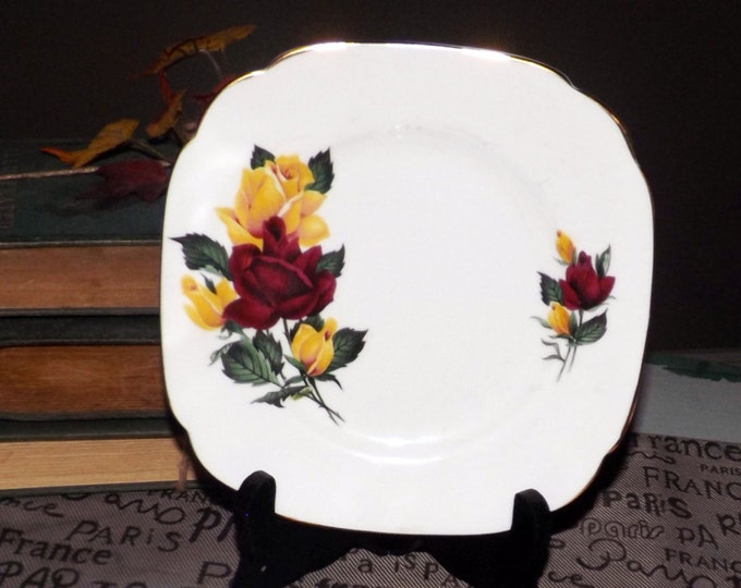 Mid-century (1950s) Royal Imperial | Ridgway Everlasting Rose squared dessert plate. 22-karat gold edge, red, yellow roses.