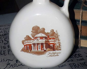 Vintage Old Fitzgerald Flagship sour mash cream glass bourbon decanter   bottle. Thomas Jefferson's Monticello. Made in the USA.