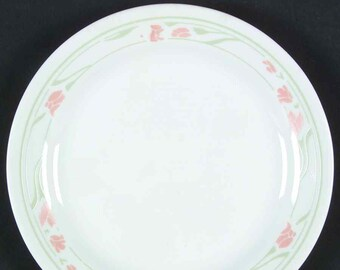 Vintage (1980s) Corelle | Corning USA | Corningware Peach Garland bread-and-butter, dessert, or side plate. Peach florals, green leaves.