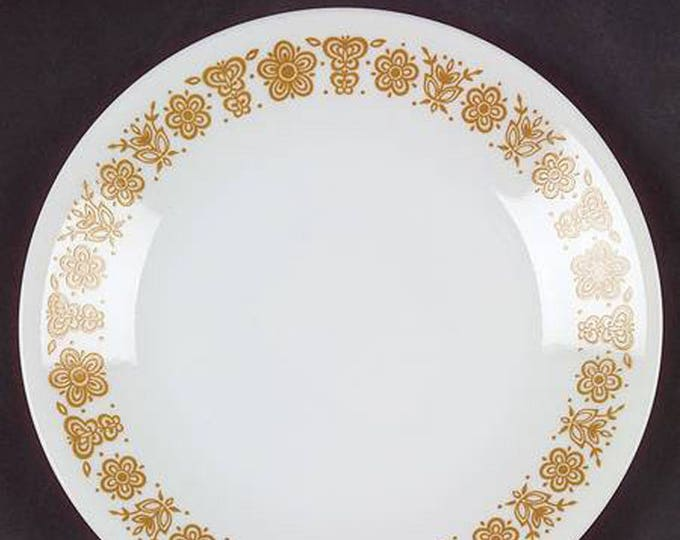 Vintage (1970s) Corelle Butterfly Gold bread-and-butter, dessert, side plate. Made in USA.