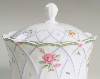 Vintage (1999) Mikasa Spring Prose A8010 creamer or covered sugar bowl. Green lattice band, pink, purple florals and swirls. Garden Party.