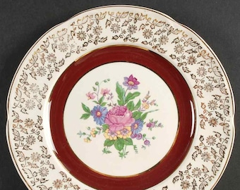 Set of 3 quite vintage (1930s) British Empire Ware Charmian salad or side plates. Maroon, gold filigree, center florals. Flawed (see below).