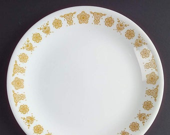 Vintage (1970s) Corelle Butterfly Gold salad | side plate. Iconic yellow floral border. Made in USA.