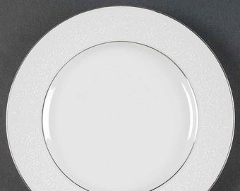 Vintage (1980s) Premiere Fine China Japan Lamar 352 salad or side plate. Embossed white lace, platinum edge, center band.