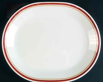 Vintage (1980s) Corelle | Corning | Corningware Cinnamon patter oval vegetable platter.  Yellow, cinnamon bands on white. Made in USA.