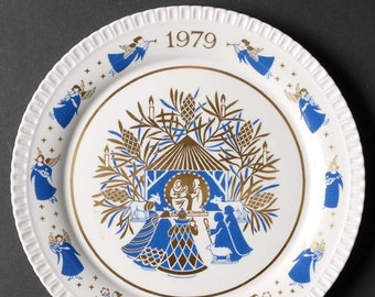 Vintage (1979) Spode Christmas Away in a Manger Christmas plate.  Original box and packaging.