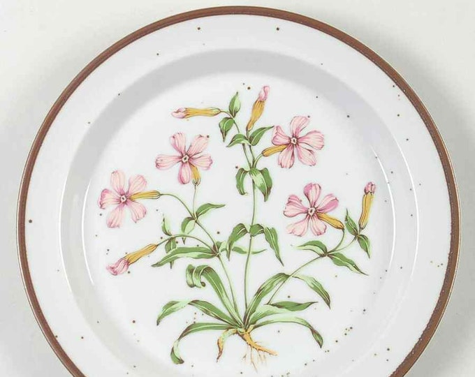 Vintage (1960s) Wild Pink 201 pattern   JAP964 rimmed salad or side plate.  Pink flowers, greenery. Hand-painted stoneware made in Japan.