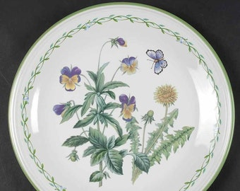 Vintage Studio Nova Garden Bloom Y2372 pattern large dinner plate.  Pink, purple florals, greenery, butterfly smooth, green edge. Thailand.