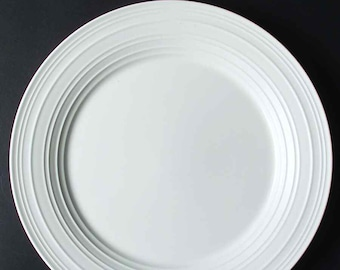 Mikasa Swirl White luncheon plate.  All-white stoneware with embossed rings. Discontinued 2006.