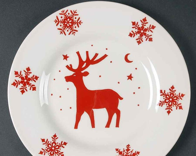 Rudolf Christmas salad or side plate made in England by Royal Stafford.  Red reindeer in center, large snowflakes.