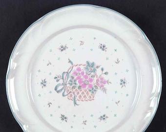 Vintage (1970s) Johann Haviland JOH67 Country Basket stoneware salad or side plate. Flowers in basket. Vintage stoneware made in Japan.