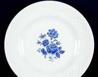 Vintage (1960s) Wedgwood Blue Rose dinner plate. Embossed lattice verge, central blue roses.