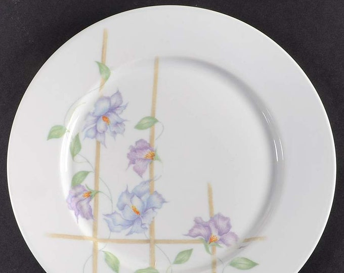 Vintage (1985) Denby Harmony bread, dessert, side plate. Purple flowers, trellis, lavender edge. Made in Portugal. Sold individually.