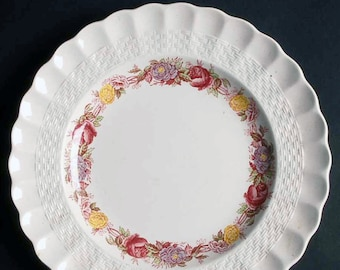 Quite vintage (1930s) Copeland Spode Rose Briar salad or side plate. Chelsea wicker shape, inner multicolor floral band.