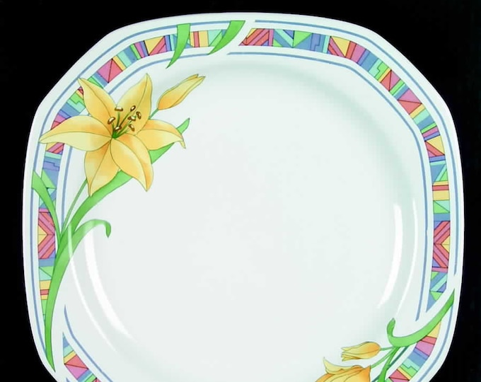 Vintage (1995) Corning Designs Sante Fe Lily large square dinner plate. Yellow flowers, greenery, multicolor border, multisided.