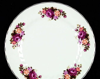 Vintage (1960s) Wood & Sons Cottage Rose dinner plate. Red, pink, yellow roses, gold edge.