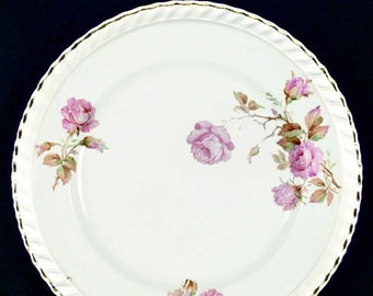 Almost antique (1920s) Johnson Brothers Miniver Rose hand-decorated bread-and-butter, dessert, or side plate. Old English ironstone.