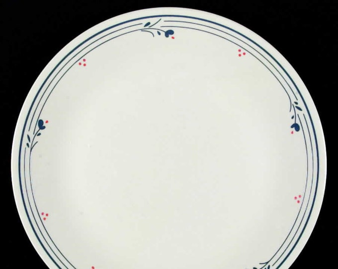 Vintage (1970s) Corelle | Corning USA Country Violets pattern dinner plate.  Blue flowers, red dots, blue lines on cream.