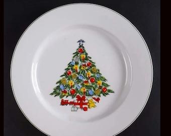 Vintage (1980s) CX87 vintage stoneware dinner plate. Christmas tableware.