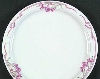 Mid-century (1950s) Homer Laughlin USA Seville 1183 Melody Pattern Best Restaurant ware salad or side plate. Pink flowers, ribbons