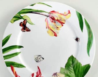 Royal Worcester Floral Haven pattern large dinner plate | charger. Vivid florals, leaves and butterflies. Unused.