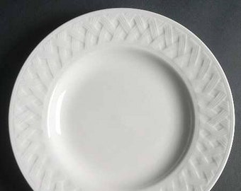 Vintage Martha Stewart French Cupboard White all-white large salad or side plate. Embossed basket weave. Exclusive to Macys.