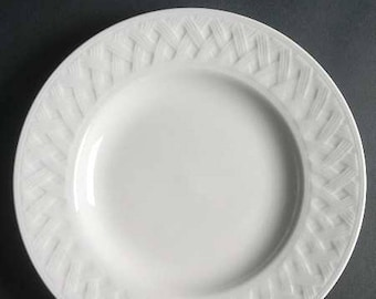 Vintage Martha Stewart French Cupboard White all-white coupe-shape large dinner plate | charger. Embossed basket weave. Exclusive to Macys.
