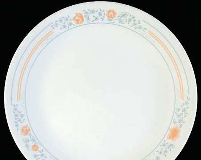 Vintage (1997) Corelle | Corningware | Corning USA Apricot Grove pattern bread-and-butter or side plate. Peach and grey florals and stripes.