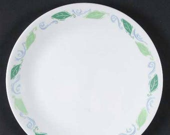 Vintage (late 1980s) Corelle USA original Spearmint pattern bread-and-butter, dessert, or side plate. Green leaves, blue swirls.
