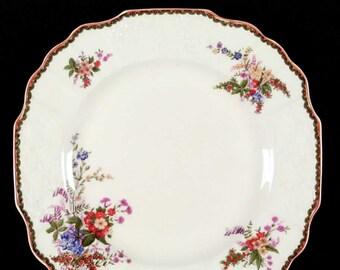 Quite vintage (1930s) Myott Devon floral creamware squared dinner plate. Made in England.