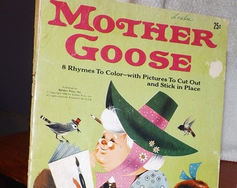 Vintage (1960) children's book entitled Mother Goose published by Golden Press. Printed in the USA.