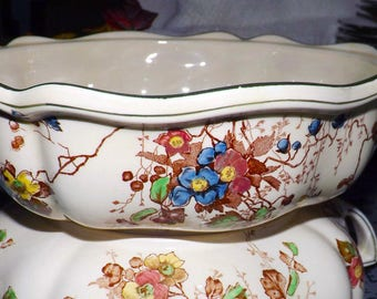 Vintage (1930s) Royal Doulton Kew D4941 round handled vegetable serving bowl made in England. Art nouveau florals.