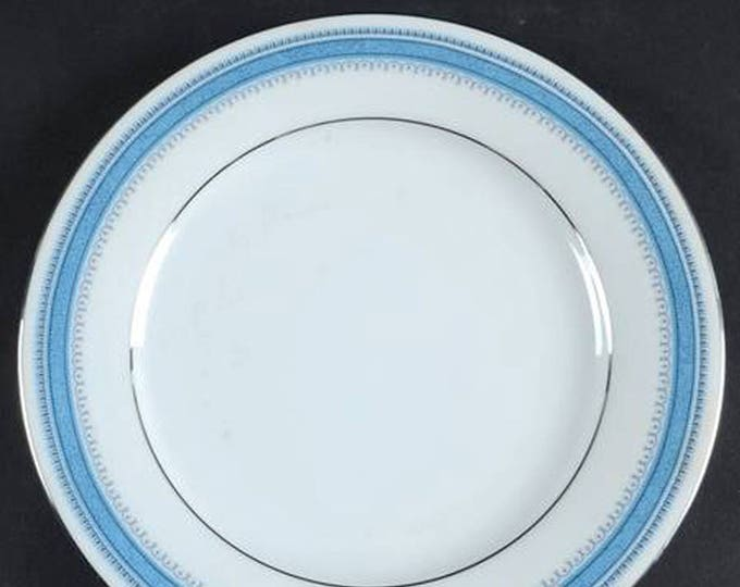 Pair of vintage (1970s - early 1980s) Noritake Pembroke pattern 2892 salad or side plates. Blue bands and dots, platinum edge.