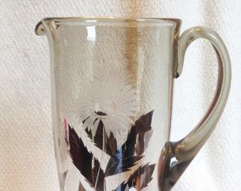 Vintage (1930s) Depression glass | cut-glass cornflower large pitcher | jug. Silvered leaf design, silver accents.