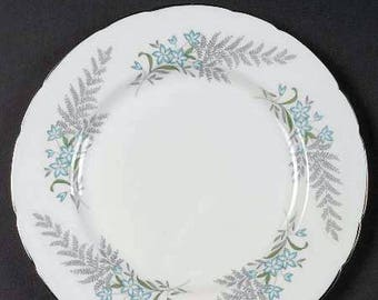 Vintage (1960s) Paragon Finlandia salad or side plate. Blue flowers, green leaves, gray ferns, platinum edge.