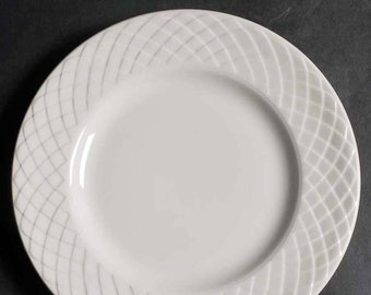Set of 3 vintage (1960s) Royal Tunstall RTL1 | Wedgwood Regina bread-and-butter, dessert, or side plates. White-on-white embossed lattice.