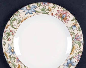 Vintage (1996) Royal Doulton TC1216 Jacobean pattern salad   side plate. Broad multicolor floral band, white ground.
