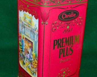 Vintage (1993) Christie Premium Plus Crackers Special Edition 1993 Christmas tin with lid. Lithographed lid.