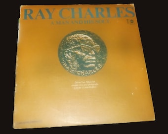 Vintage (1967) Ray Charles A Man and His Soul double-album LP vinyl set with sleeves and biographical booklet insert. ABC-S590X