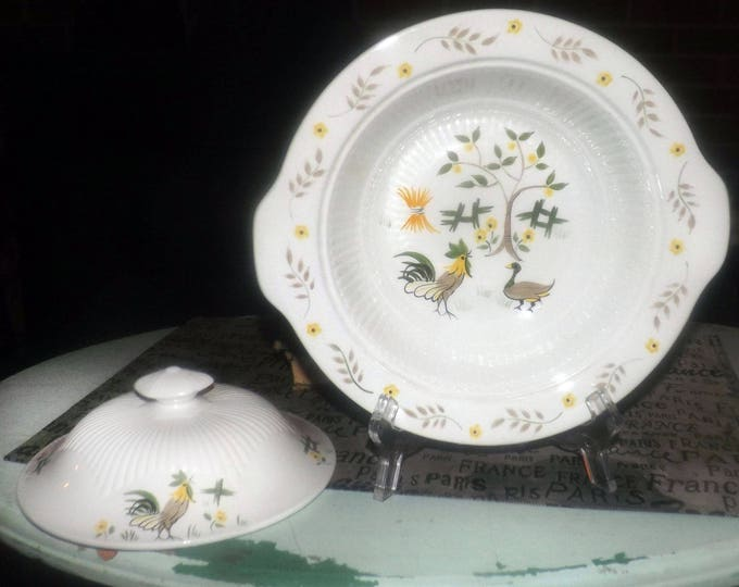 Vintage (1960s) Adams Micratex Real English Ironstone covered, handled vegetable serving bowl | tureen. Rooster, duck, yellow flowers, fence