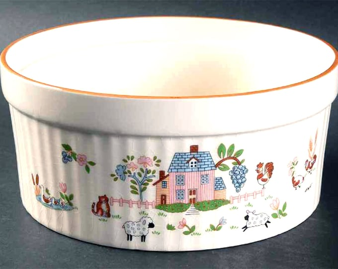 Vintage (1980s) Country Home folk-art souffle dish made by International | Jamestown China Japan. Farm animals, pink house, brown rim.