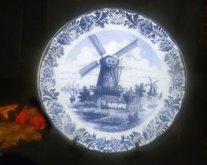 Vintage (1960s) Delfts Blauw Chemkefa hand-painted blue-and-white wall plate windmills and barns. Authentic Delftware made in Holland.