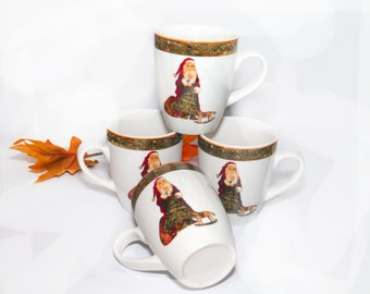 Set of four vintage Christmas Santa coffee or tea mugs. Santa Claus with sack, rocking horse, green band.
