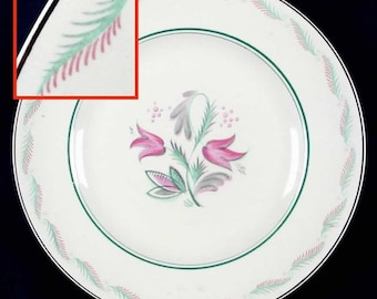 Mid-century (1950s) Wedgwood Fanfare hand-decorated dinner plate designed by Albert Wagg. Red, turquoise florals.