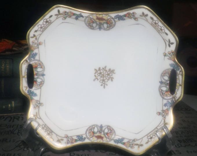 Antique (1911) Morimura | Noritake Japan hand-painted Nippon handled candy or nut dish. Art nouveau florals, cartouches, embossed gold.