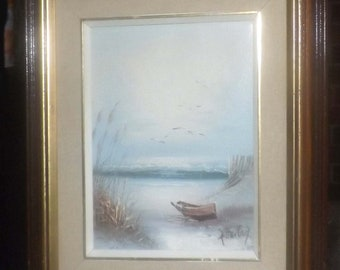 Mid-century (1950s) original oil on canvas. Signed H. Gailey. Water scene, boat, shore, birds, reeds. Framed.