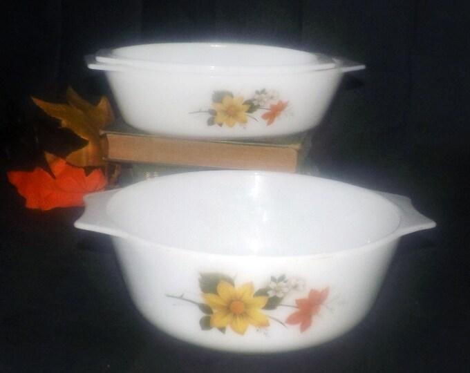 Set of vintage (1960s) JAJ | Pyrex Autumn's Glory | Dahlia cinderella bowls | casserole set made in England. Set of three bowls.