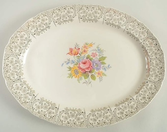 Early mid-century (1940s) Canonsburg China | Canonsburg Golden Fragrance oval meat | vegetable platter. Pink roses, 22K floral filigree.