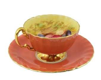 Mid century Aynsley 1034 Fruit Orchard Coral cup and saucer set made in England. Signed D. Jones.
